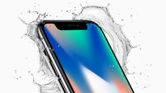 Apple iphonex front crop top corner splash